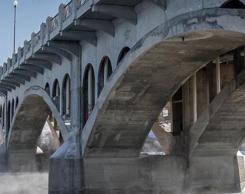 Saskatoon, Saskatchewan bridge in winter