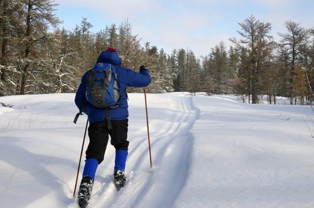 """John skiing the Elk Hole Goose Sanctuary trails"""