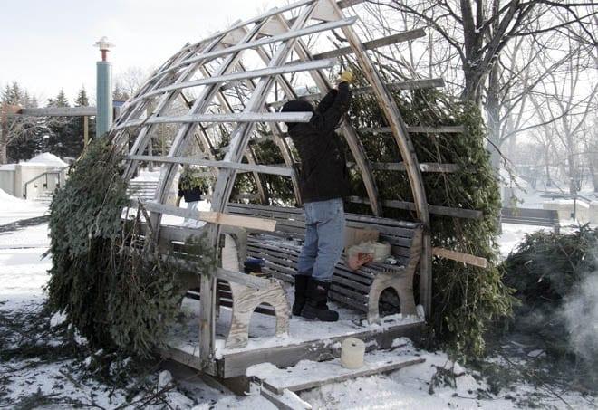 """A warming hut under construction"""