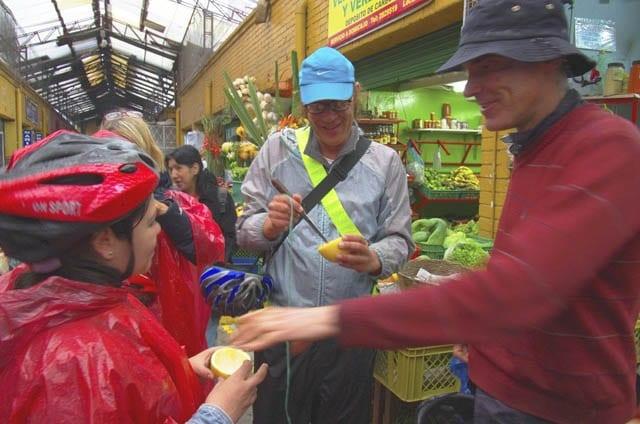 """""""Sampling unusual fruits at the market"""""""