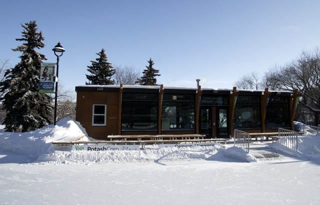 """The skater's lodge at the Cameco Meewasin skating rink"""