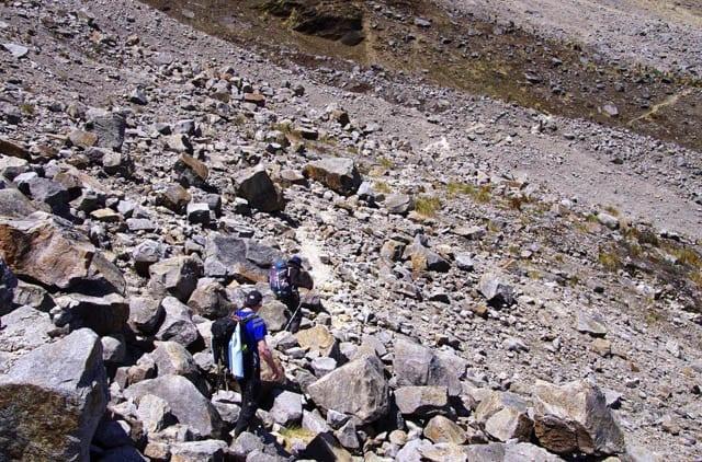 """ nasty walking through the boulder field"""
