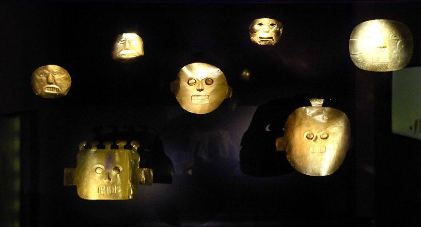 Masks beautifully lit up at the Museo del Oro
