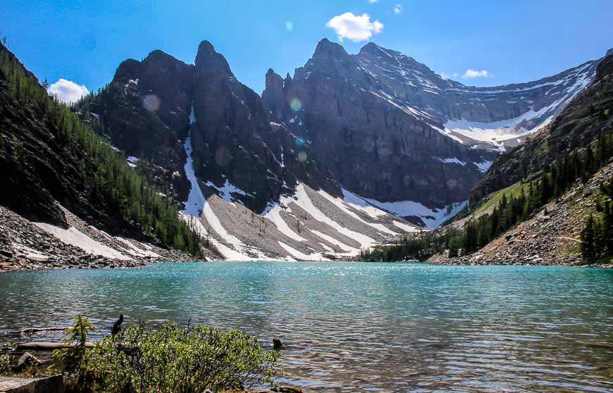 Lake Agnes in the summer