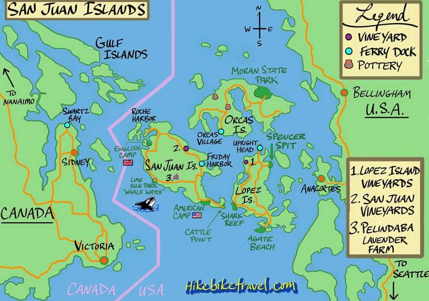 Location map of the San Juan Islands
