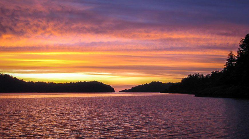 Sunset off of Jedediah Island