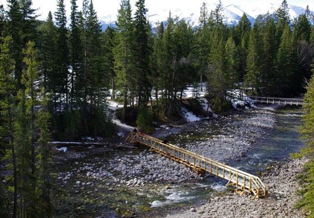 """Temporary bridge across the Maligne River"""