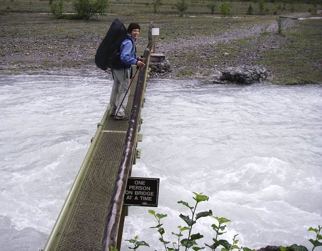 """One of the narrow footbridges to cross the Robson River"""