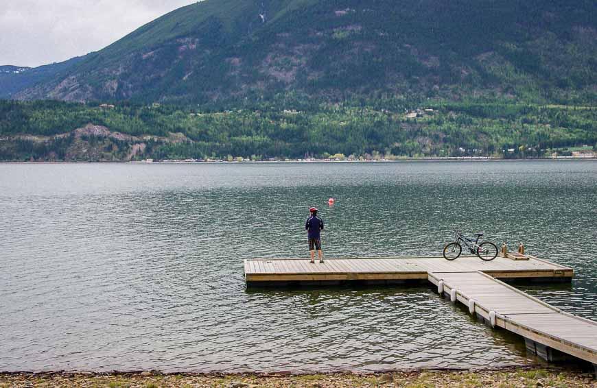 The Start Of The Bike Ride Beside A Dock On Shuswap Lake