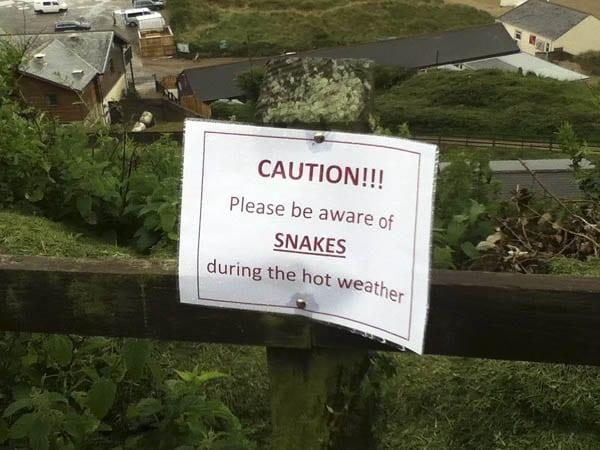":Snake warning sign in England"""