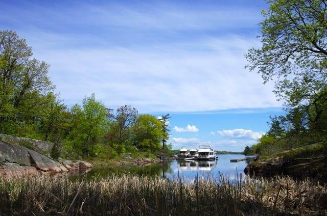 """Houseboats anchored on Beau Rivage Island"""