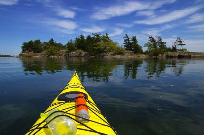"""Yellow kayak in the 1000 Islands"""