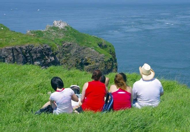 """family at Cape Split enjoying the view"""