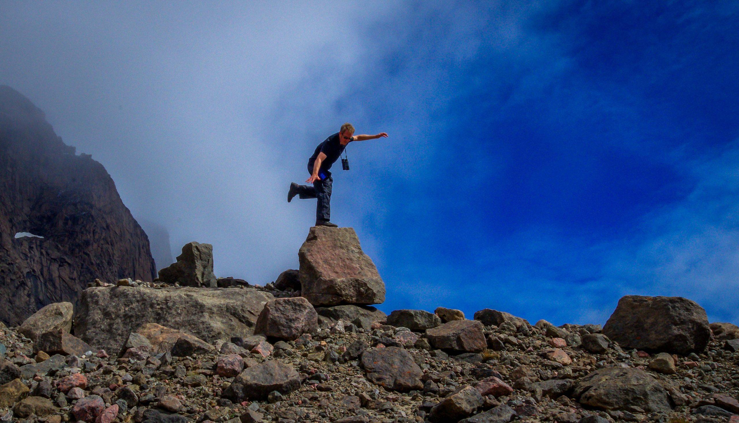 My husband John testing his balance