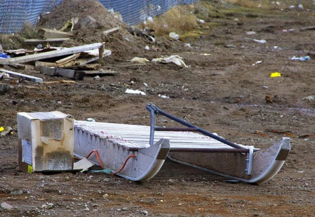 """Sled on the back streets of Iqaluit"""