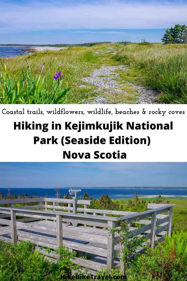 Hiking the coastal trail in Kejimkujik National Park (Seaside area) in Nova Scotia