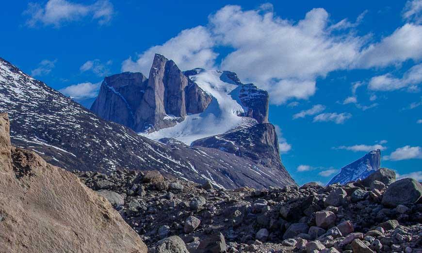 Baffin Island backpacking and enjoying mountain scenery near Summit Lake