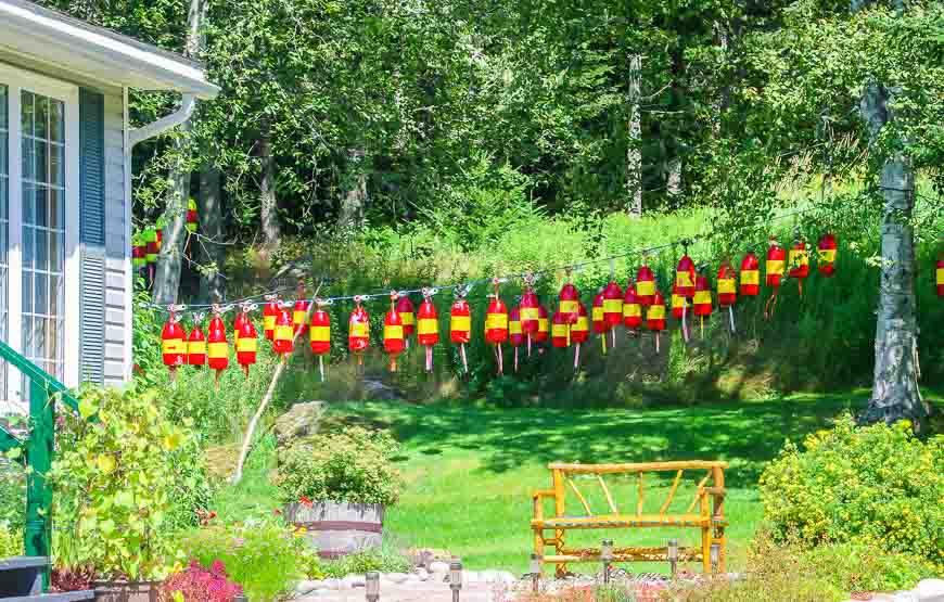 Buoys strung up on a clothesline