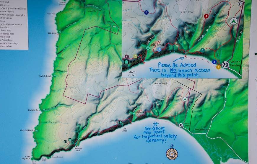 Map of the Cape Chignecto Coastal Trail