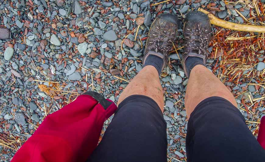 blistered, sore feet at the end of the 50+ kilometre hike on the Cape Chignecto trail