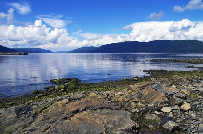 """Looking west down the Saguenay Fjord"""