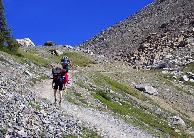 """Slogging it up Boulder Pass"""