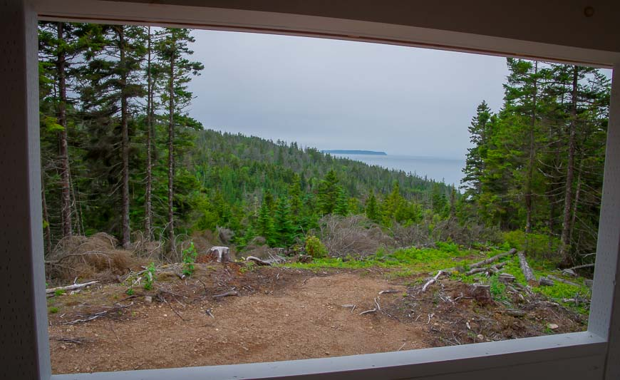 The view of the Bay of Fundy from my cabin on night two on the Cape Chignecto trail