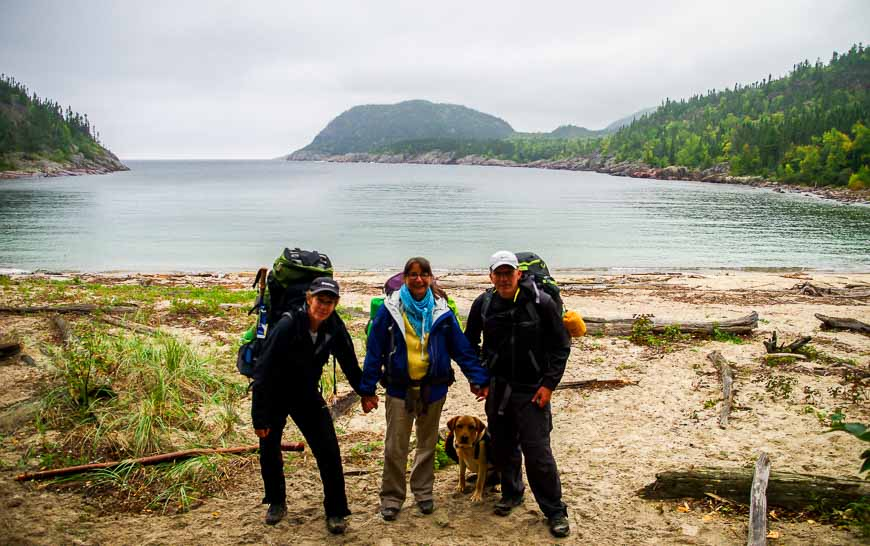 I'm the stooped one on the left starting the Coastal Trail in Pukaskwa