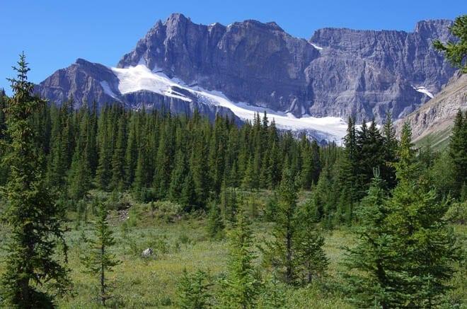 """Heading west in the direction of Skoki Lodge over Jones Pass"""