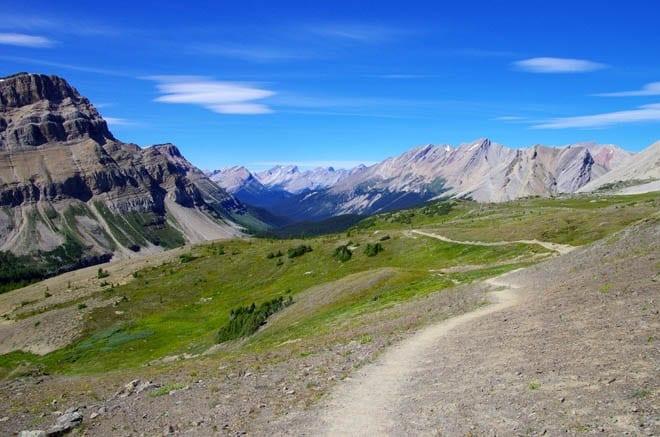 """Looking down Skoki Valley from Deception Pass"""