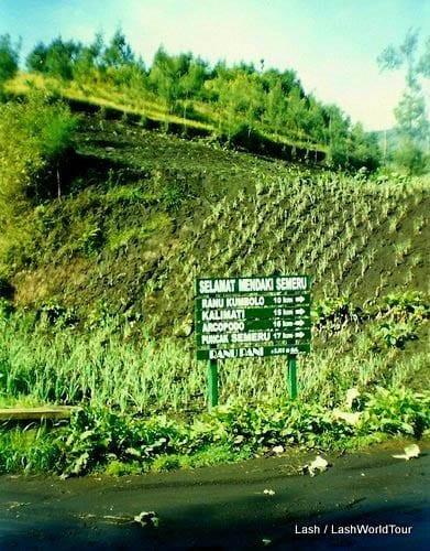 "Mount Semeru trekking and a hiking sign for the Semeru area"""