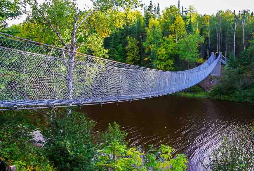 The suspension bridge across the Willow River