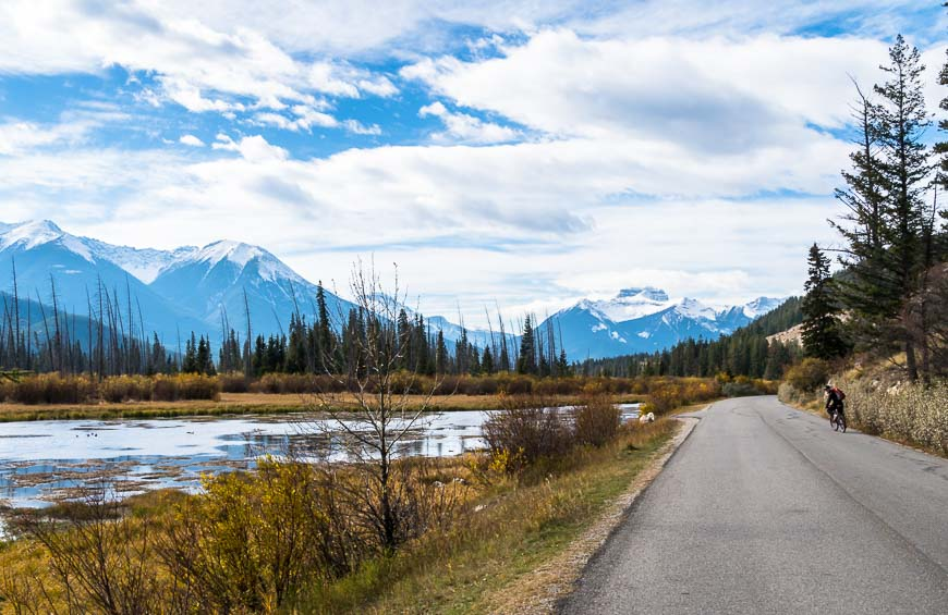Cycling beside the Vermilion Lakes