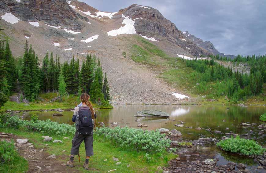 Hiking past Schaffer Lake