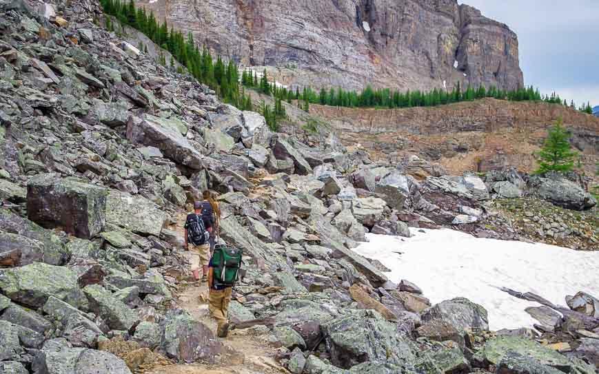 Through the boulders on the Lake McArthur hike