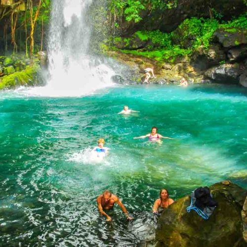 A cooling dip after a hike in Rincon de la Vieja National Park