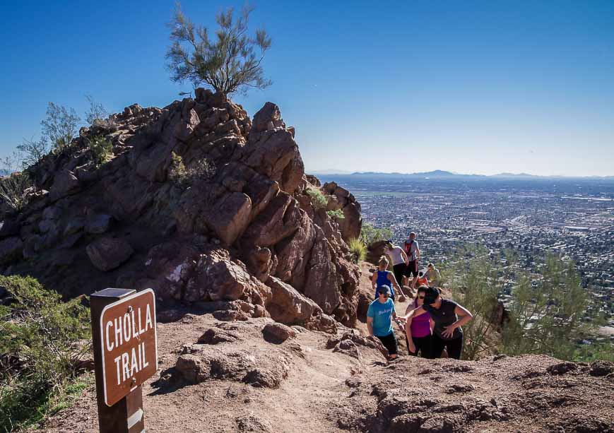You can some sense of how busy the Cholla Trail can get from this photo
