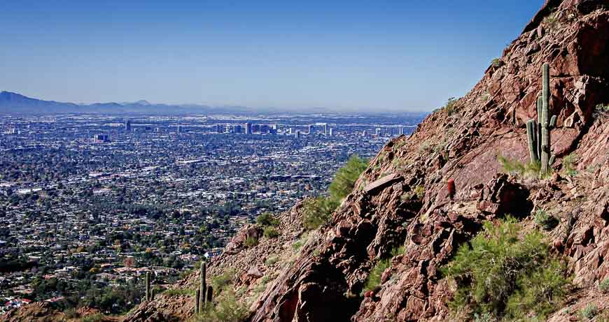 On the Camelback Mountain hike there ares some good drop-offs