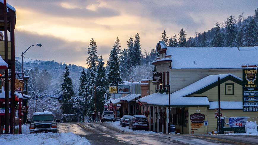 The main street in Mariposa California after a snowfall