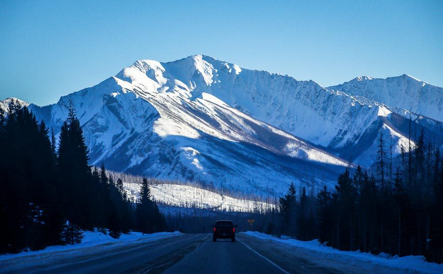 Driving through Kootenay National Park en route to the Columbia Valley BC