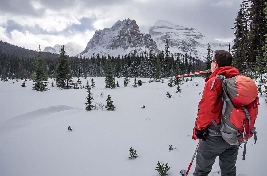 Pointing towards Haiduk Lake in Banff National Park