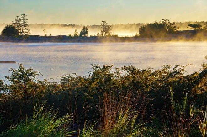"""Mist rising off the Georgian Bay"""