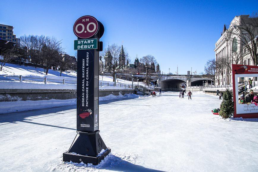 The zero kilometre mark outside of the National Arts Center