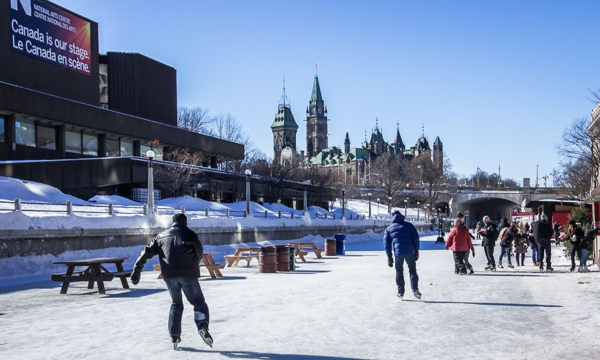 A good view of the Parliament Buildings from skating the Rideau Canal