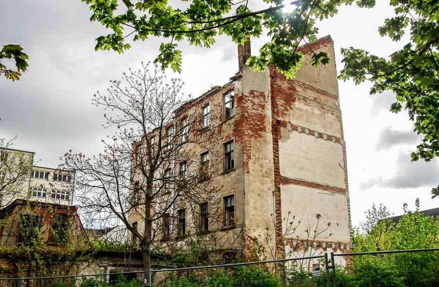 Few run down buildings in the core of Leipzig