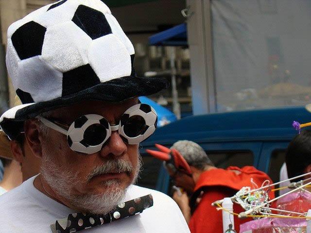 """Dressed like a soccer ball"""