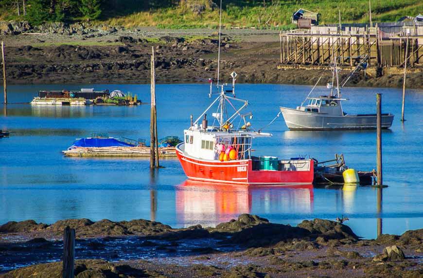 Colourful fishing boats at sunset