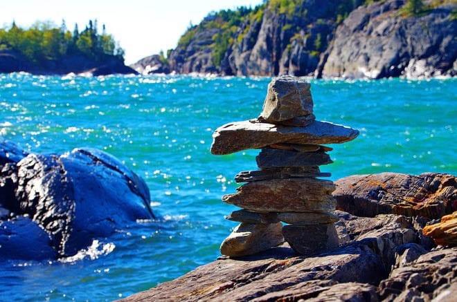 """Inukshuk overlooking Lake Superior"""