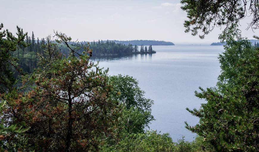 Our first view of Lac La Ronge from the trail