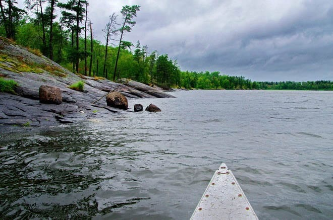 """Canoeing down Caddy Lake - in the only calm section of the lake"""
